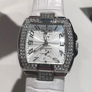 Guess Watch with White Leather Strap